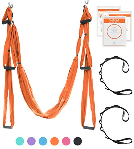 Aerial Yoga Swing - Ultra Strong Antigravity Yoga Hammock/Sling for Air Yoga Inversion Exercises - 2 Extensions Straps Included (Orange) (Hammock Sling)