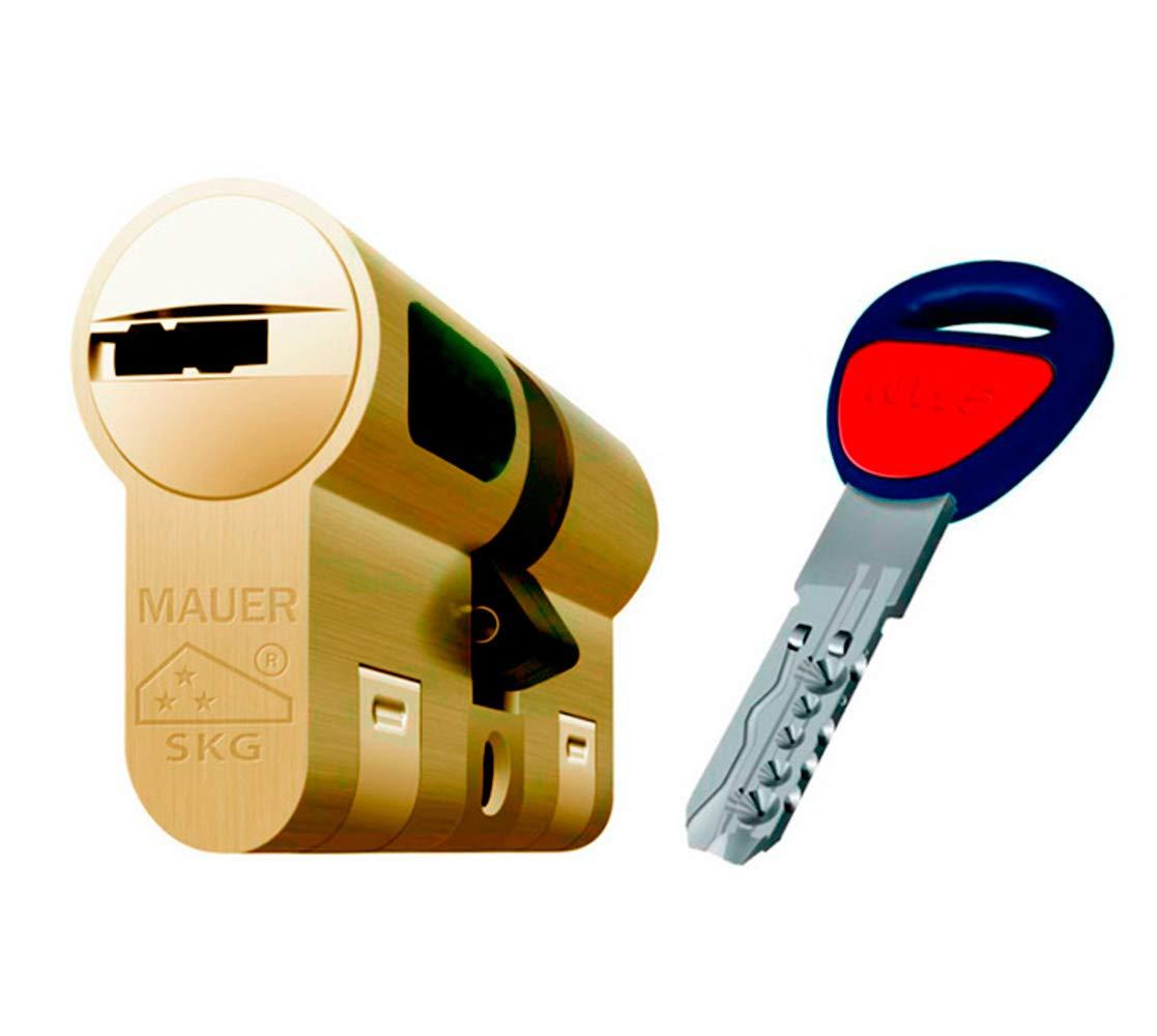 Bombin de seguridad MAUER NW5 36x36 color LATON, reforzado, antirotura, antibumping, antitaladro, leva antiextracción, cerradura para puerta, ...