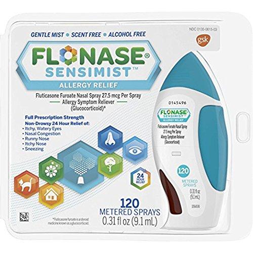 Flonase Sensimist Allergy Relief Nasal Spray, 120 Metered Spays, 0.54 fl oz (Pack of 2) -  345199