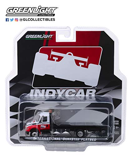 International Durastar Flatbed Truck White and Red IndyCar Series Hobby Exclusive 1/64 Diecast Model by Greenlight 30033