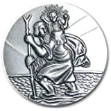 Hl. St. Christophorus, gesegnet, geweiht, feinversilbert. 3 cm-Plakette/Amulett. Unikat