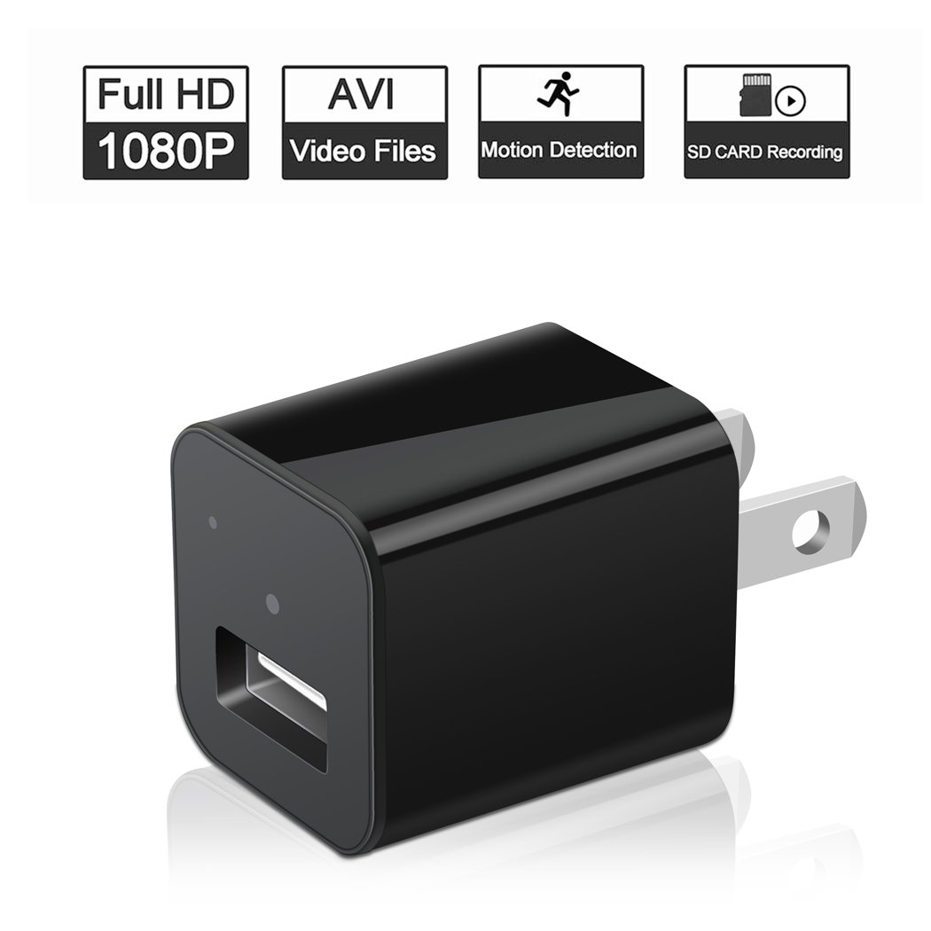 Hidden Camera in USB Charger Adapter, HD 1080P Mini Small Video Recorder, Support Motion Detection, 32GB Micro SD Card Slot, No WiFi, No Night Vision, for Home Security Bathroom Nanny Kids Watch