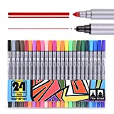 #7: Dual broad Pen Colored Art Markers 24 Colors - With Fineliner Fibre Tip 0.4 Fine Point - Sketch Drawing Marker - perfect for coloring books for adults qianshan