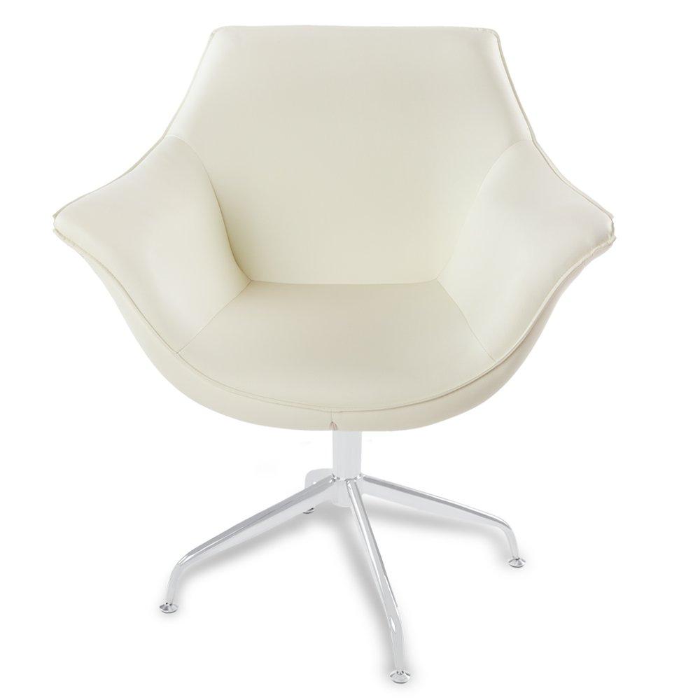 Zuri Furniture Mala Modern Swivel Occasional Chair - Cream