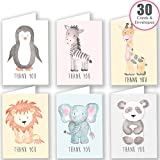 30 Watercolour Animal Thank You Cards Multipack with Envelopes - by Ruby Ashley