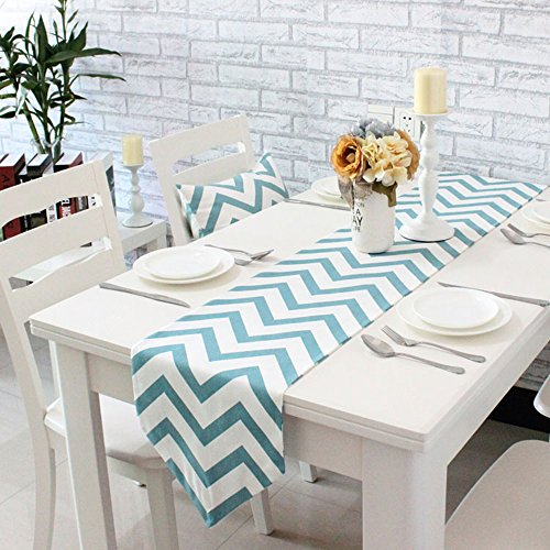 FUNHOM Geometric Stripe Chevron Pattern Table Runner Blue Placemats Cotton Canvas Fabric Coffee Table Flag Bed Runner (12
