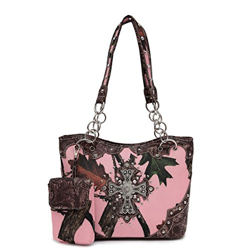 Pink Forest Camo Western Purse with Cross Bling, Cellphon...