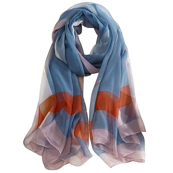 738e99818 ANDANTINO Lightweight Floral Print Spring Summer Scarf for Women Soft  Breathable Sunscreen Shawls - Headscarf for