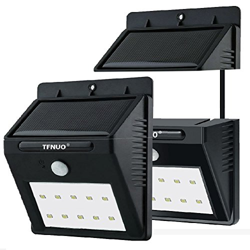 Solar Motion Sensor Lights,2-Pack 10 LED Solar Sensor Wall Lights TFNUO Wireless Security Light /Security lamp Weatherproof Motion Sensor Lighting w/ Separately Installed for OUTDOOR/INDOOR