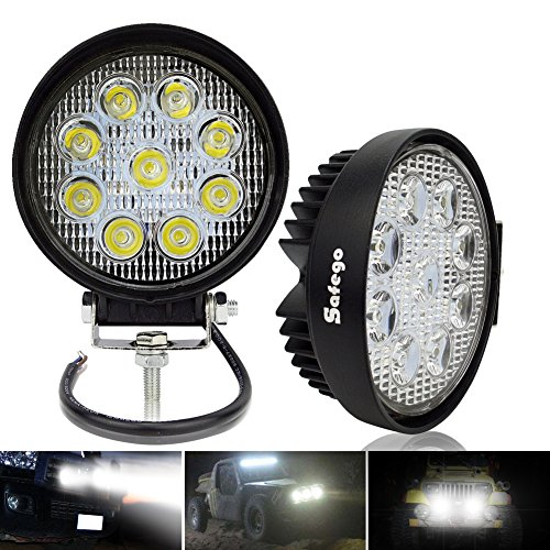 Safego 27W LED Spotlight Work Lamp 12V 24V for Truck OffRoad Lights 4X4 ATV Tractor Waterproof 30 Degree Round 27WR-SP Pack of 2