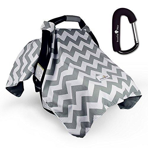 Car Seat Cover - Grey Chevron w/ Free Stroller Hook