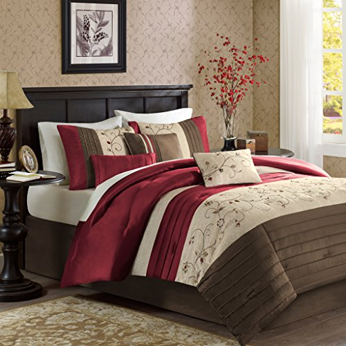 7 Piece Faux Silk (Madison Park Serene King Size Bed Comforter Set Bed In A Bag - Red, Embroidered – 7 Pieces Bedding Sets – Faux Silk Bedroom Comforters)