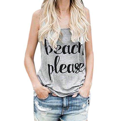 ZEZKT Beach Please Printed Tank Top Ärmelloses Rundhals T Shirt Damen Weit Shirts Oberteile Tops Frauen Schöne Ausgefallene Coole T Shirts Print Damentops Sommer Fitness Grau