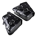 1 Pair (Left & Right) Black PU Leather Right Solo Side Swing Arm Saddle Bag for Harley Sportster XL883 XL1200