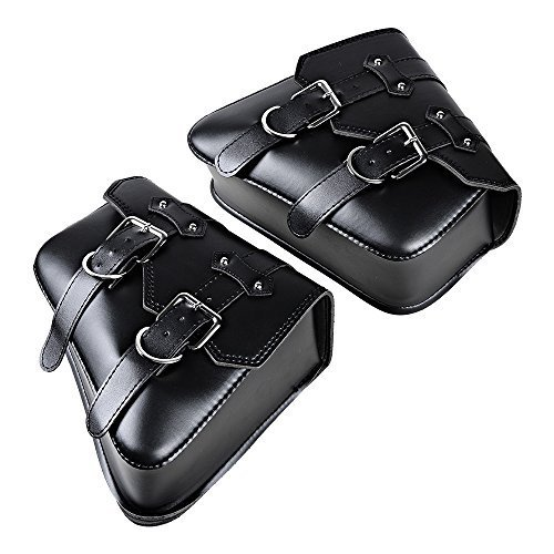 1 Pair (Left & Right) Black PU Leather Right Solo Side Swing Arm Saddle Bag for Harley Sportster XL883 - Sportster Harley