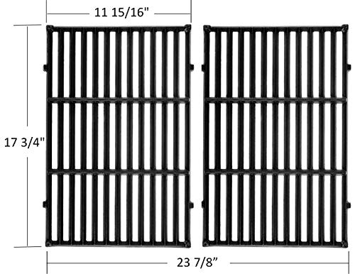 Outspark Matte Cast-Iron Cooking Grates Grids(17.5 x 11.9) for Weber Spirit 300 Series, Spirit 700, Genesis Silver B/C, Genesis 1000 - 3500 Grills Replacement Prats for Weber 900, 1100, 2381001