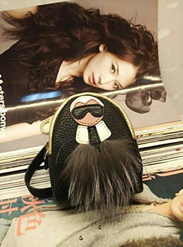 Monster Lafayette mini Backpack Purse with mink fur bag pendant Keychain (black with golden)
