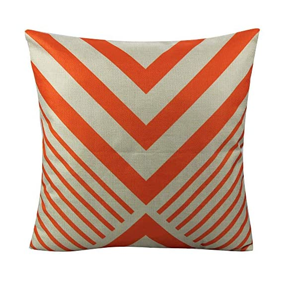 All Smiles Outdoor Patio Throw Pillow Covers Cases Indoor Furniture Decorative Cushion 18x18 Set of 4 for Home Porch Chair Couch Sofa Living Room Geometric Orange - Geometry: Zig Zag,Stripes,Circle,Chevrons,Outside Porch Garden Farmhouse Rustic Orange Color Home Décorations for Indoor/Outdoor Furniture Patio Couch Chair Car Seat,;Color:Orange Print on Beige Ground Material: Made of durable cotton blend linen,slightly rough texture,lightweight Qty: 4 pcs covers/Set of 4 (Only pillow case ,inside filler not include,The pattern is only available on the front side, the back side is Soild) - patio, outdoor-throw-pillows, outdoor-decor - 51N2iOLkPML. SS570  -