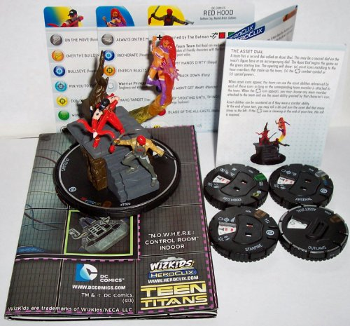 Heroclix DC Teen Titans #T006 Outlaws Base, #023 Red Hood, #036 Arsenal and #077 Starfire Figures with Cards and Asset Dial Super Booster Pack N.O.W.H.E.R.E. Control Room Indoor Map]()
