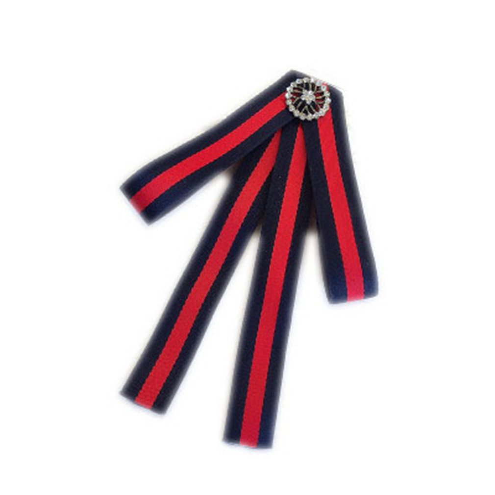 Embroidered Rose Striped Bowknot Brooches British Shirt Collar Women S Accessories Collar Flower Occupation
