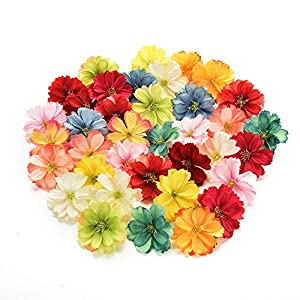 Fake flower heads in bulk wholesale for Crafts Artificial Silk Flowers Head Peony Daisy Decor DIY Flower Decoration for Home Wedding Party Car Corsage Decoration Fake Flowers 50PCS 4cm 86