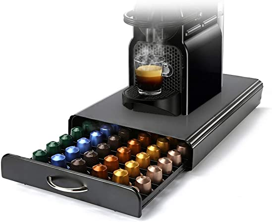 HiveNets Nespresso Cajón para Almacenar Cápsulas de Café Portacápsulas Soporte con Metal para 60 Pcs: Amazon.es: Hogar
