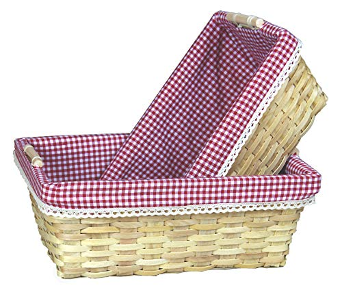 Gingham Lined Shelf Baskets Set of 2 ()