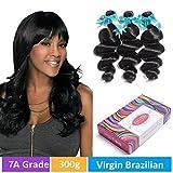 Cheap Rechoo 7A Grade Brazilian Remy Hair 3 Bundles 300g Loose Wave 100% Unprocessed Human Hair Natural Black Mixed Length(12″ 14″ 16″)