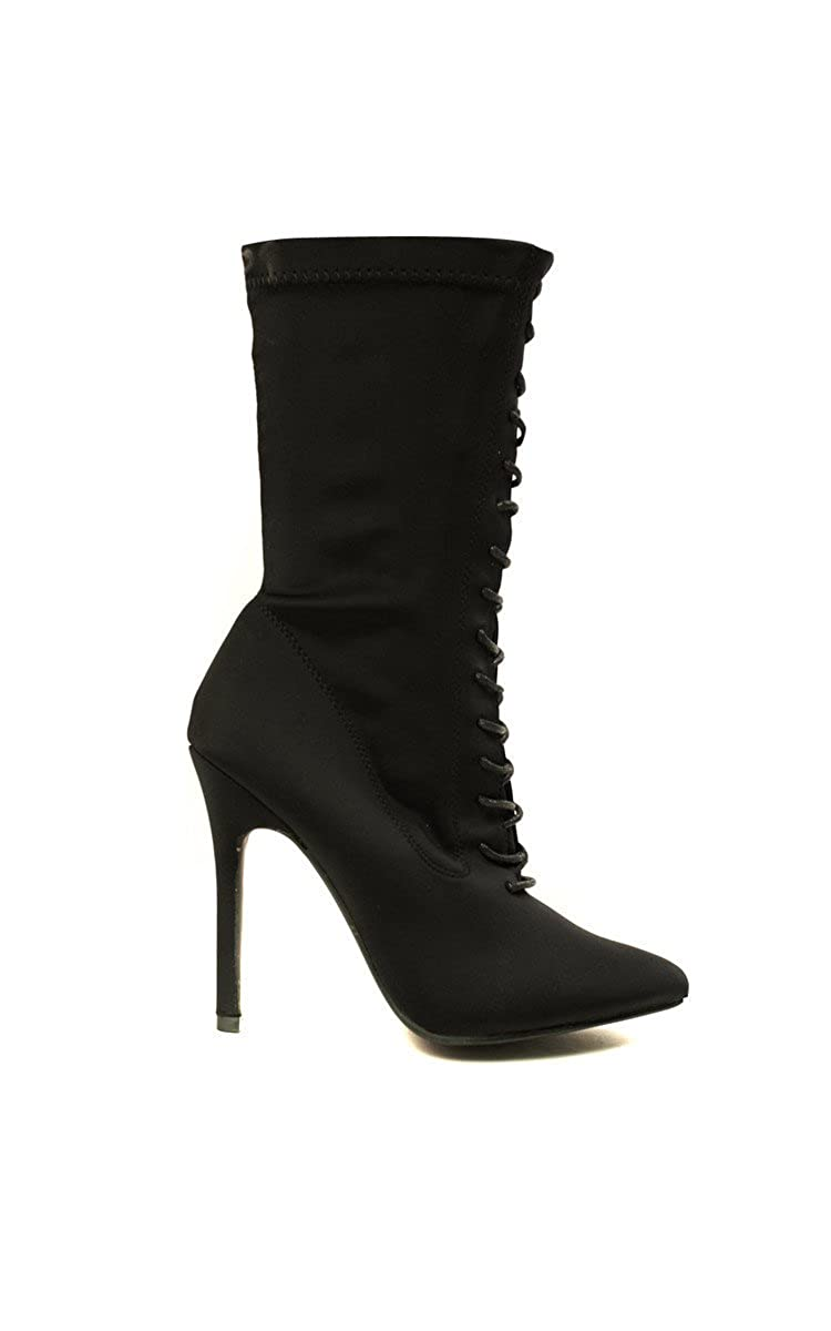 be0870aa3 Ikrush Womens Kimmie Lycra Lace Up Heeled Boots Black  Amazon.co.uk  Shoes    Bags
