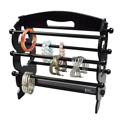 Ikee Design Wooden Bangle Stand Bracelet Display Rack, Black