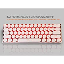Bluetooth Mechanical Keyboard, LinDon-Tech Mechanical Keyboard, For Smartphone iPad Samsung Tablet pc Laptop, Bluetooth 3.0, Brown Switches, Mini 61 Keys- White