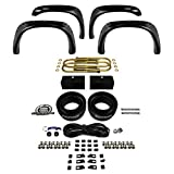 Supreme Suspensions - Dodge Ram 1500 2WD 4X2 Front 3 Inch and 1 Inch Rear High CNC Billet Lift Suspension Leveling Kit + 4 Front - Rear Bolt-on Rivet Style Paintable Fender Flares