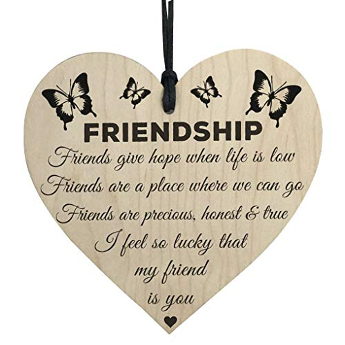 Harmily 100mm Wooden Hanging Gift Plaque Pendant Heart Shape Friendship Wine Bottle Decor Pendant Tags Love Wood Chip
