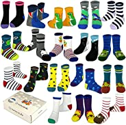 TeeHee Little Boys and Girls Toddler Novelty Fashion Sports Cotton Crew Socks 18 Pair Pack Gift Box