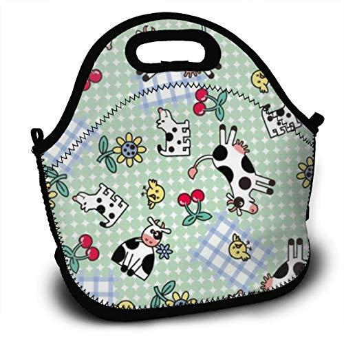Dejup Lunch Bag Cow Pattern Tote Reusable Insulated Lunchbox, Shoulder Strap with Zipper for Kids, Boys, Girls, Women and Men -