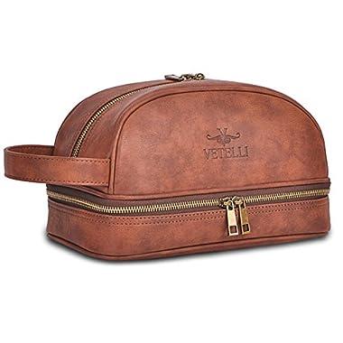 Vetelli Leather Toiletry Bag For Men (Dopp Kit) with free Travel Bottles.