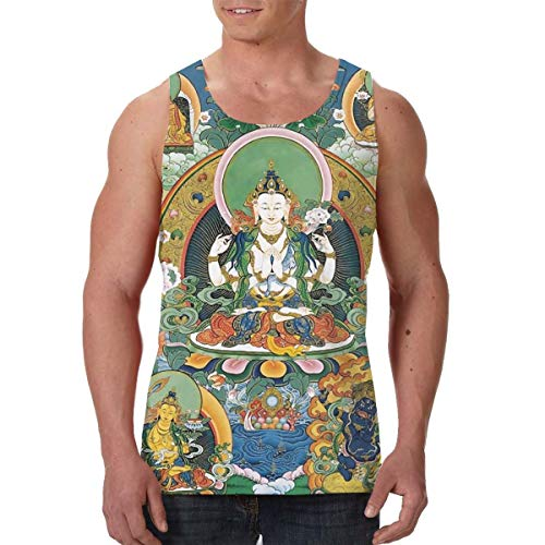 Mens Goddess of Mercy Muscle Sleeveless T-Shirt, Essential Tank Top for Exercising Black