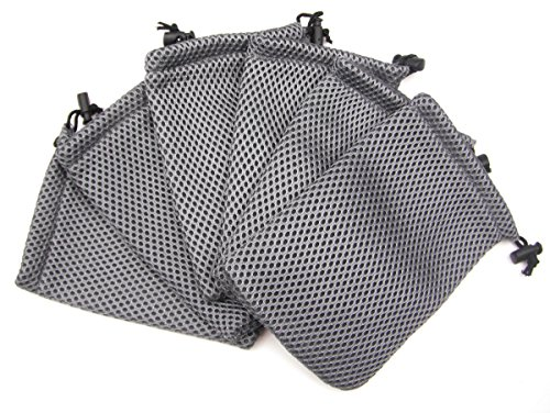 ALL in ONE 6pcs Grey Nylon Mesh Drawstring Bag Pouches for Mini Stuff Cellphone Mp3 10x15cm (4x6 Inch)