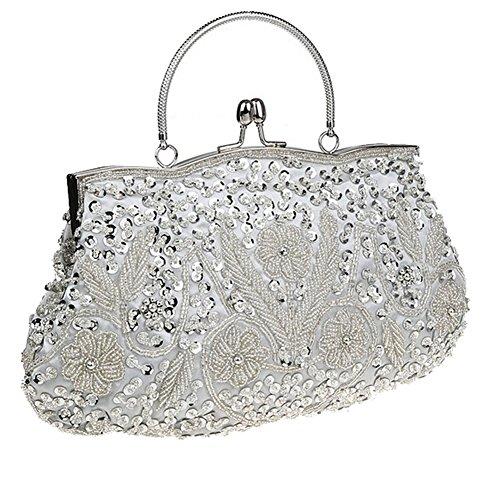 ThyWay Beaded Sequin Design Metal Frame Kissing Lock Satin Interior Evening Clutch (Sliver) - Beaded Sequin Evening Bag