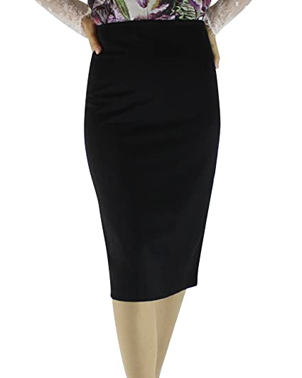 f0a65f1dabd Yonglan Mujer Bodycon Lápiz Falda Color Sólido Cintura Alta Elasticidad  Midi Tubo Faldas Negro XXXXL