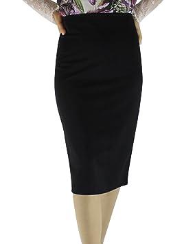 Yonglan Mujer Bodycon Lápiz Falda Color Sólido Cintura Alta ...