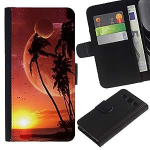 "SAMSUNG Galaxy S3 III / i9300 / i747 , la tarjeta de Crédito Slots PU Funda de cuero Monedero caso cubierta de piel ("" Alien Planet Beach World Palm Trees Sunset Art"")"