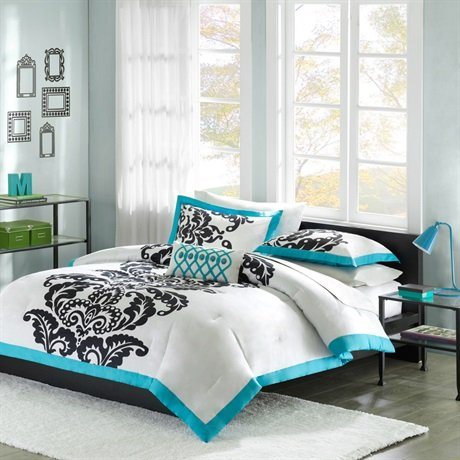 Florentine Comforter Set (Mizone Florentine 4 Piece Comforter Set, Teal,)