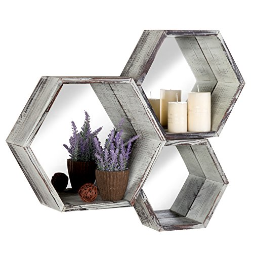 Rustic Torched Wood Hexagon Wall Mounted Floating Shelves with Mirror Backing, Set of 3, - Mirror Large Hexagon