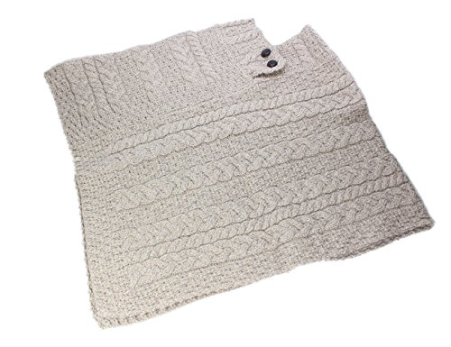 Fisherman Knit Poncho 100% Merino Wool Natural by Carraig Donn