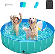 TREYWELL Dog Pool, Pet Swimming Pool for Large Dogs, Foldable Kiddie Pool for Kids, Bathing Tub Bathtub for Do