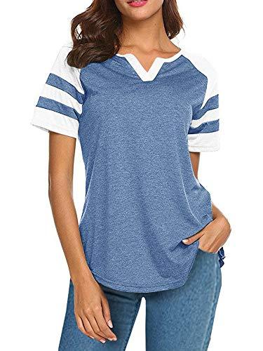 (Short Sleeve Raglan Baseball Tee for Women Jersey Striped Small V Neck Tunic Tshirts)