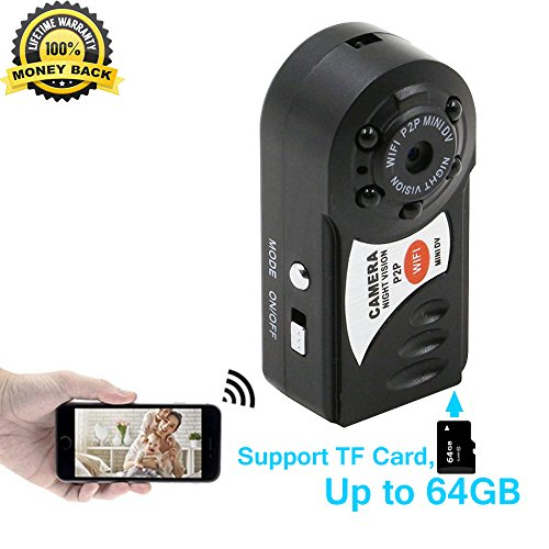 Buy cheap HD Q7 Mini Wifi DVR Wireless IP Camera Hidden Camcorder Video Recorder Camera Infrared Night Vision Spy Camera for Iphone Android Personal Body Security P2P Mini DV Support TF Card Up to 64G