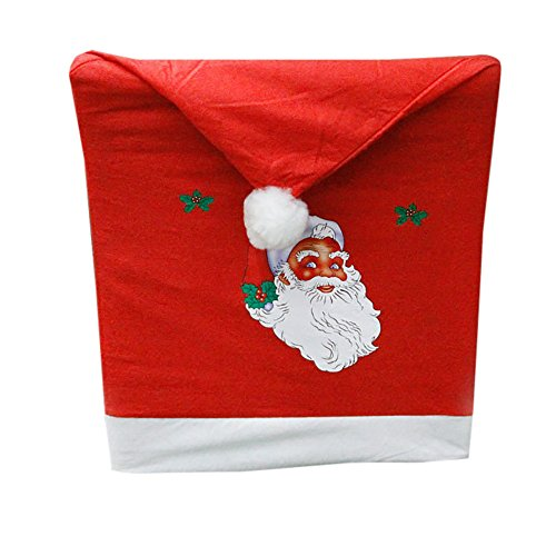 Over Woven Futon Chair Cover - Vovomay 4pc Non-Woven Santa Hat Chair Covers Christmas Decor Dinner Xmas Cap Sets Red (Red)