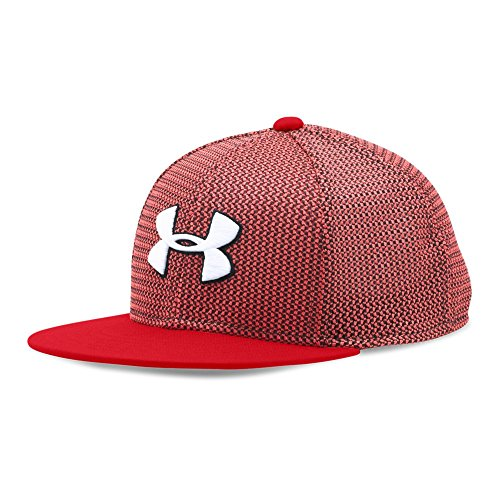 (Under Armour Boys' Twist Knit Snapback Cap, Red/Black, One Size)